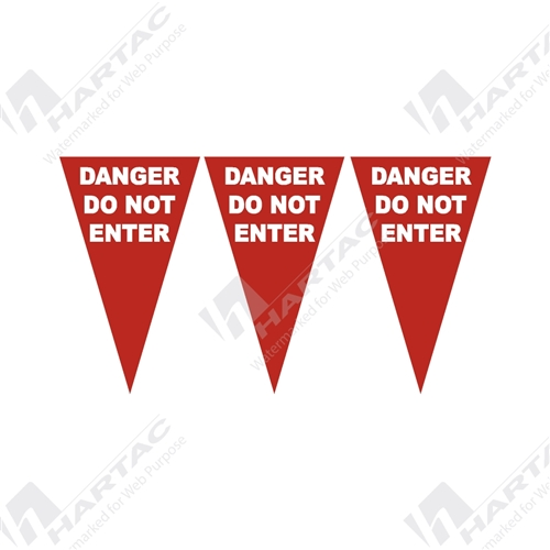 "30m Roll ""DANGER DO NOT ENTER"" Bunting Flags - Red"