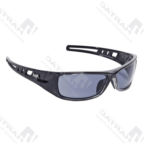 Mack B-Double Black Silver Frame Safety Glasses - Smoke Polarised