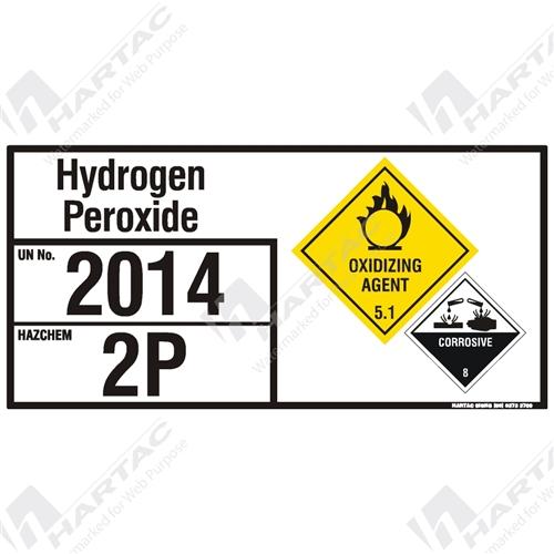Emergency Information Panel Hazchem Sign Eip Hydrogen Peroxide
