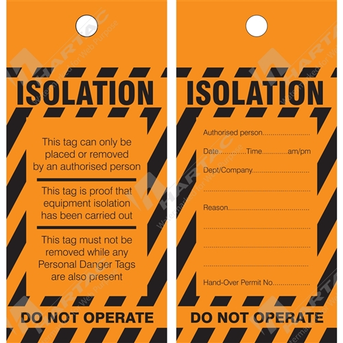 Waterproof Paper & Poly Tags - Isolation Tag