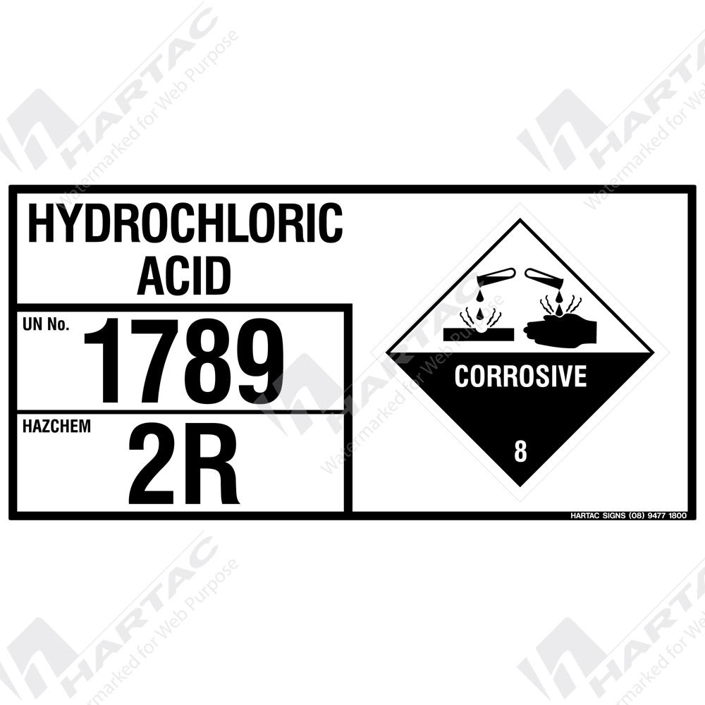 Emergency Information Panel Hazchem Sign Eip Hydrochloric Acid