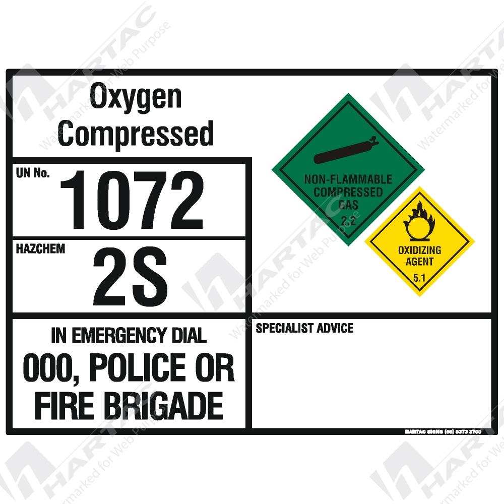 Emergency Information Panel Hazchem Sign Eip Oxygen Compressed