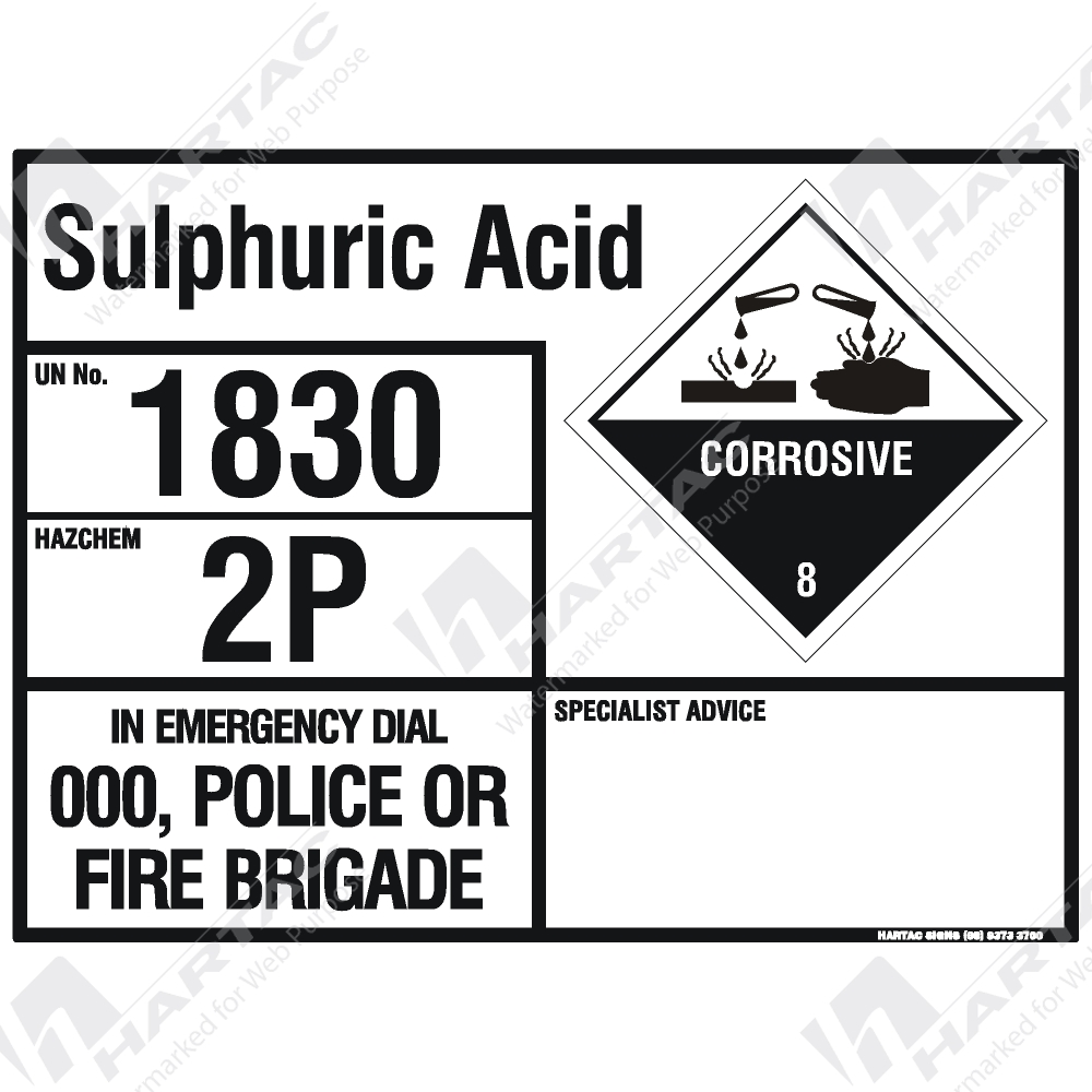 Emergency Information Panel Hazchem Sign Eip Sulphuric Acid