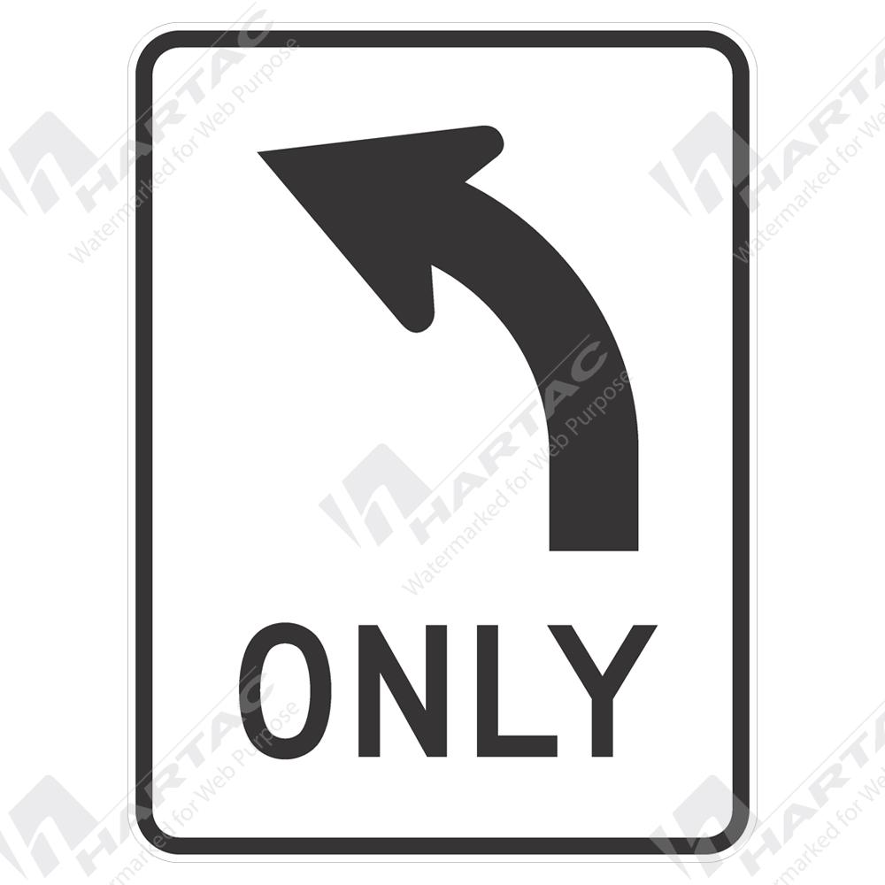 Regulatory Signs Only W Curve Arrow Left Aluminium Reflective